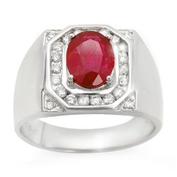 3.60 CTW Ruby & Diamond Men's Ring 14K White Gold - REF-104X5R - 14467