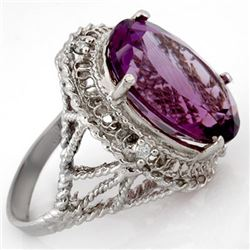 13.03 CTW Amethyst & Diamond Ring 10K White Gold - REF-45N5A - 10365