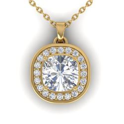 1.25 CTW Cushion Cut Certified VS/SI Diamond Art Deco Necklace 14K Yellow Gold - REF-402F9N - 30341