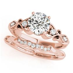 0.72 CTW Certified VS/SI Diamond Solitaire 2Pc Wedding Set Antique 14K Rose Gold - REF-125X5R - 3156