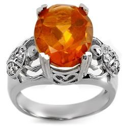 6.20 CTW Citrine & Diamond Ring 10K White Gold - REF-52N7A - 10753