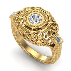 0.75 CTW VS/SI Diamond Solitaire Art Deco Ring 18K Yellow Gold - REF-200R2K - 37045