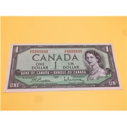 1954 BANK OF CANADA ONE DIGIT SOLID NUMBERS-RADAR NOTE RARE A/F 8888888 BC-40b