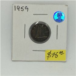 1959 Canada Silver Dime-Amazing Toning
