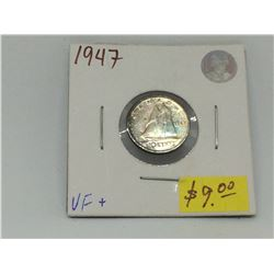 1947 Canada Silver George VI Dime-Light Blue Toning