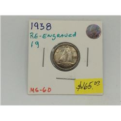 1938 Re-Engraved 19 Canada Silver 10 Cents-Rare Variety