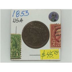 1853 USA  Breaded Hair Liberty Head