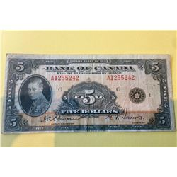 1935 Bank of Canada 5 Dollar Note-Osborne-Towers