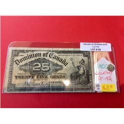 1900 Dominion of Canada 25 Cents Note DC-15a