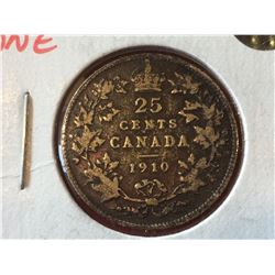 1910 Canada Silver 25-cent Toned  VG-10
