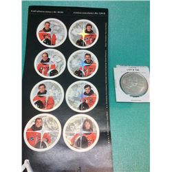 Canada 8 Self Adhesive Stamps x 48-Cent & 1 Apollo 11 Token