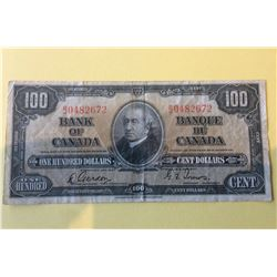 1937 Bank of Canada 100 Dollars Note, Gordon -Towers B/J0482672