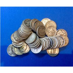 USA Random Silver 10 Cents, Lot of 50 Pieces