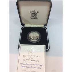 1945 1995 50th Anniversary of the United Nations Silver Proof Piedfort 10 000  31,96 gms