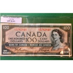 1954 Bank of  Canada 100$ Note. Beattie-Coyne A/J5782846