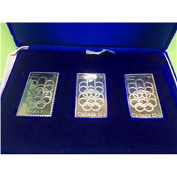 Montreal XXI Olympiad Fine Silver Stamp, lot of 3 Pieces 1,5 oz total