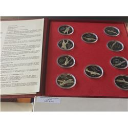 1977-1937 40 th Anniversary of Air canada. Sterling Airplane medaillon, lot of 10 Pieces. Wings Acro