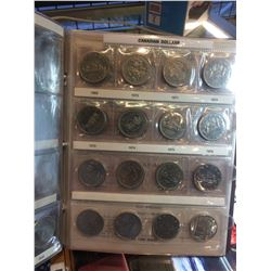 Canadian nickel Dollar Album 1968 to 1986, lot of 23 Coins