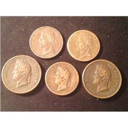 Estate Sale: FRA#010 - Lot of 5 Different coins. Charles X & Louis-Philippe Ier pour les Colonies Ma