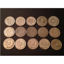 Estate Sale: Lot of 15 Swiss Coins, 35,92 gr