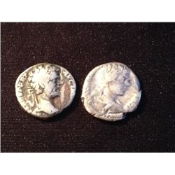 Estate Sale: ROM#003 - FAMILLE SÉVÈRE - Lot of 2  Different Deniers  Septime Sévère et Caracalla 6,0