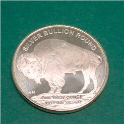 1 TROY OZ BUFFALO FINE SILVER .999  BULLION ROUND