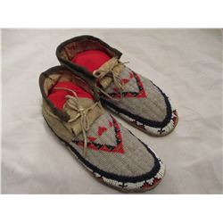 Great pair circa 1900 Sioux Fully Beaded Moccasins