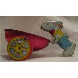 Vintage Tin Lithographed Toy Rabbit Bunny Pulling Cart Wagon Easter J Chein 1950's
