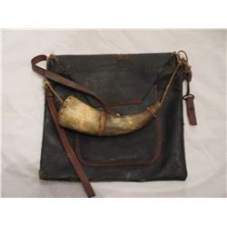 Vintage Civil War Powder horn and Bag