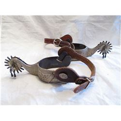 Marked E Garcia Swan Silver Spurs