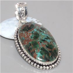 Chrysocolla and 925 Sterling Silver Pendant