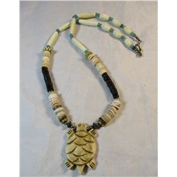 Hand Carved Elk Bone Necklace Pine Ridge South Dakota Sioux Made