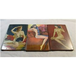 Lot of 3 vintage 1930's Risque Celluloid Nude Girls hand mirrors