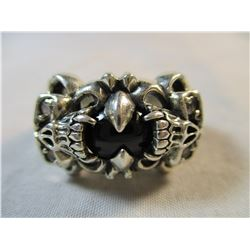 Mens Sterling Silver Skull Ring with Star Sapphire
