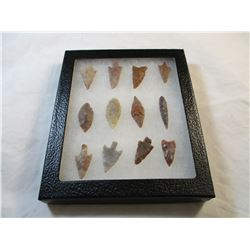 Frame of Neolithic  Arrowhead and Points. These are not reproductions.