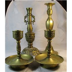 Lot of 4 vintage Brass Candlesticks