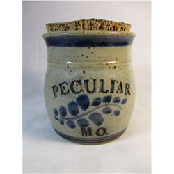 Great Advertising Crock from Peculiar Mo with Cork Lid