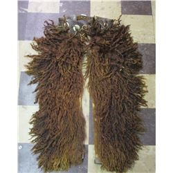Vintage 1916 Dated Shotgun Style Angora Wolly Chaps