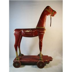 Antique Wooden Pull Horse Toy