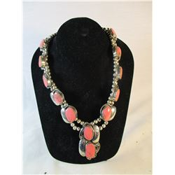 Native American Pink Howlite Sterling Silver Necklace