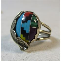 Navajo Inlay Turquoise Sterling Silver Ring