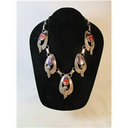 Vintage Zuni Inlay and Sterling Silver Eagle Necklace