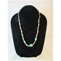 Vintage Silver Bead and Turquoise Necklace