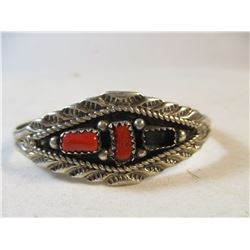 Vintage Sterling Silver and Coral Navajo Cuff Bracelet Marie B Marked