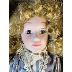 "Brinn's 1986 Musical Porcelain Doll Plays ""Playgrounds of My Mind"" New in Box"