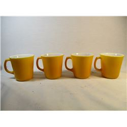 Set of 4 Vintage 1960's Mustard Yellow Mugs