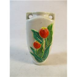 "Occupied Japan Porcelain Bud Vase. Embossed & Hand Paited Enameled Tulips 4.2"" H"