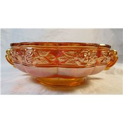 Vintage Orange Marigold Carnival Glass Rose Pattern Bowl With Handles