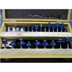 Handy Toughtest 24 Piece Router Bit Set in Wooden Case NIB