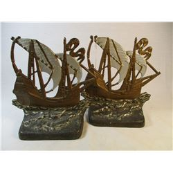 Cast Iron Sailing Galleon Pirate Ships Bookends Book Ends #1460